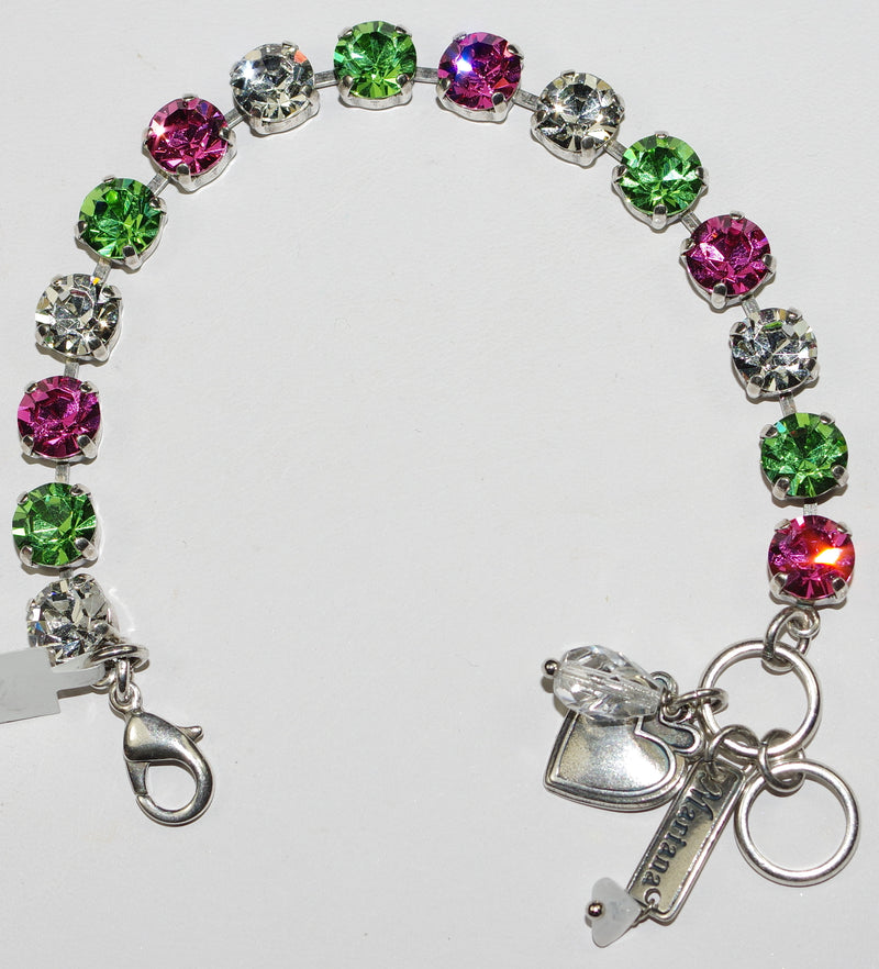"MARIANA BRACELET BETTE: 1/4"" pink, clear, green stones in silver rhodium setting"