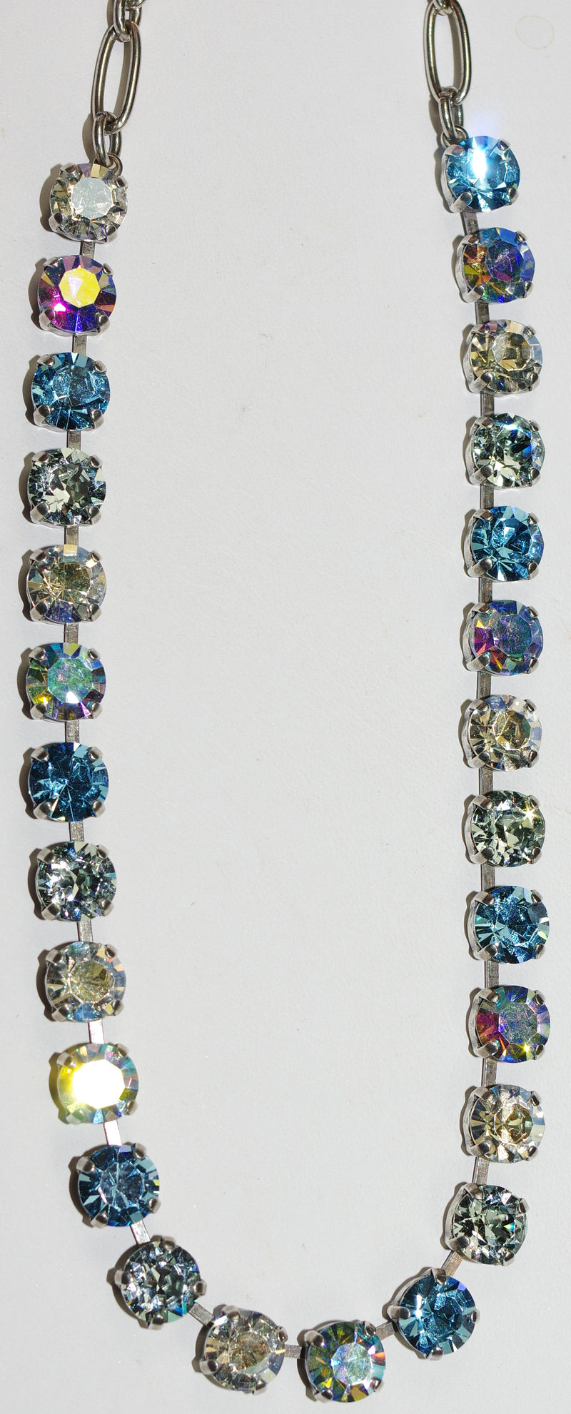 "MARIANA NECKLACE BETTE ITALIAN ICE: blue, clear 1/4"" stones in silver setting, 17"" adjustable chain"