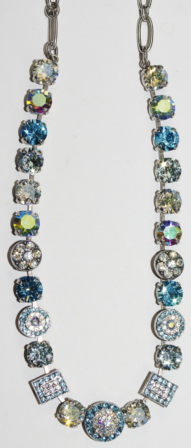 "MARIANA NECKLACE ITALIAN ICE: clear, blue stones in silver setting, 18"" adjustable chain"