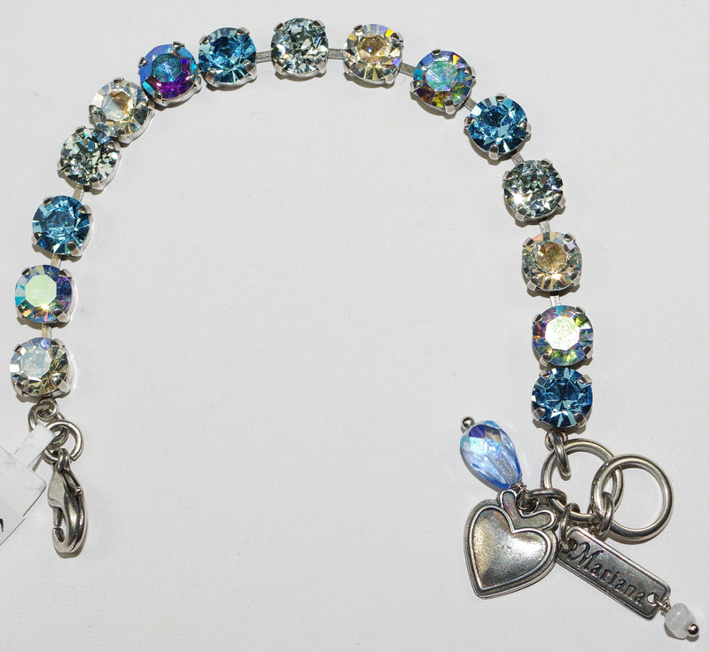 "MARIANA BRACELET BETTE ITALIAN ICE: 3/8"" clear, blue stones in silver rhodium setting"
