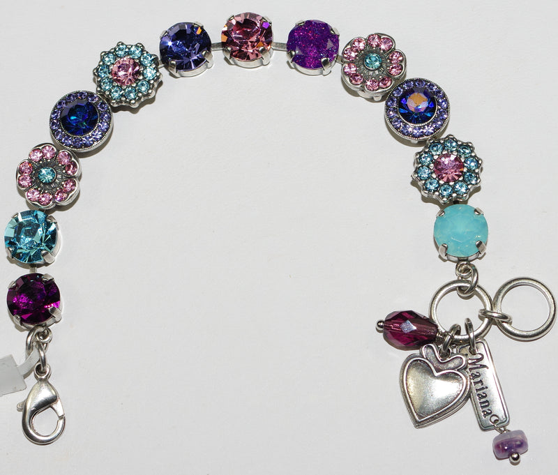 "MARIANA BRACELET COTTON CANDY: 1/2"" pink, purple, blue stones in rhodium setting"