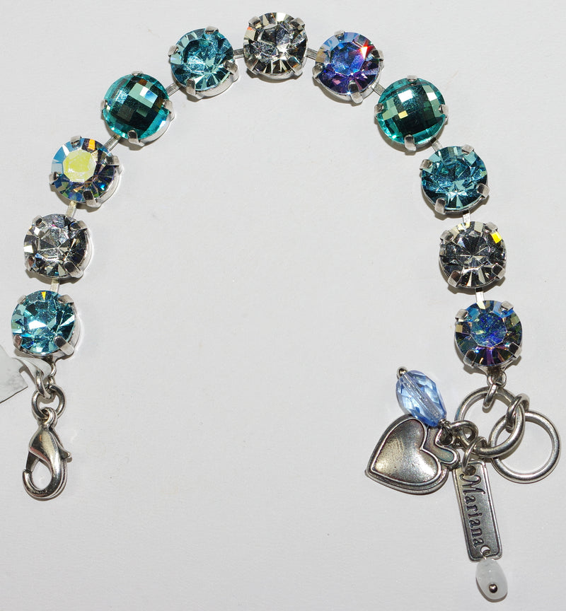"MARIANA BRACELET ITALIAN ICE: 1/2"" blue, clear, a/b stones in silver setting"