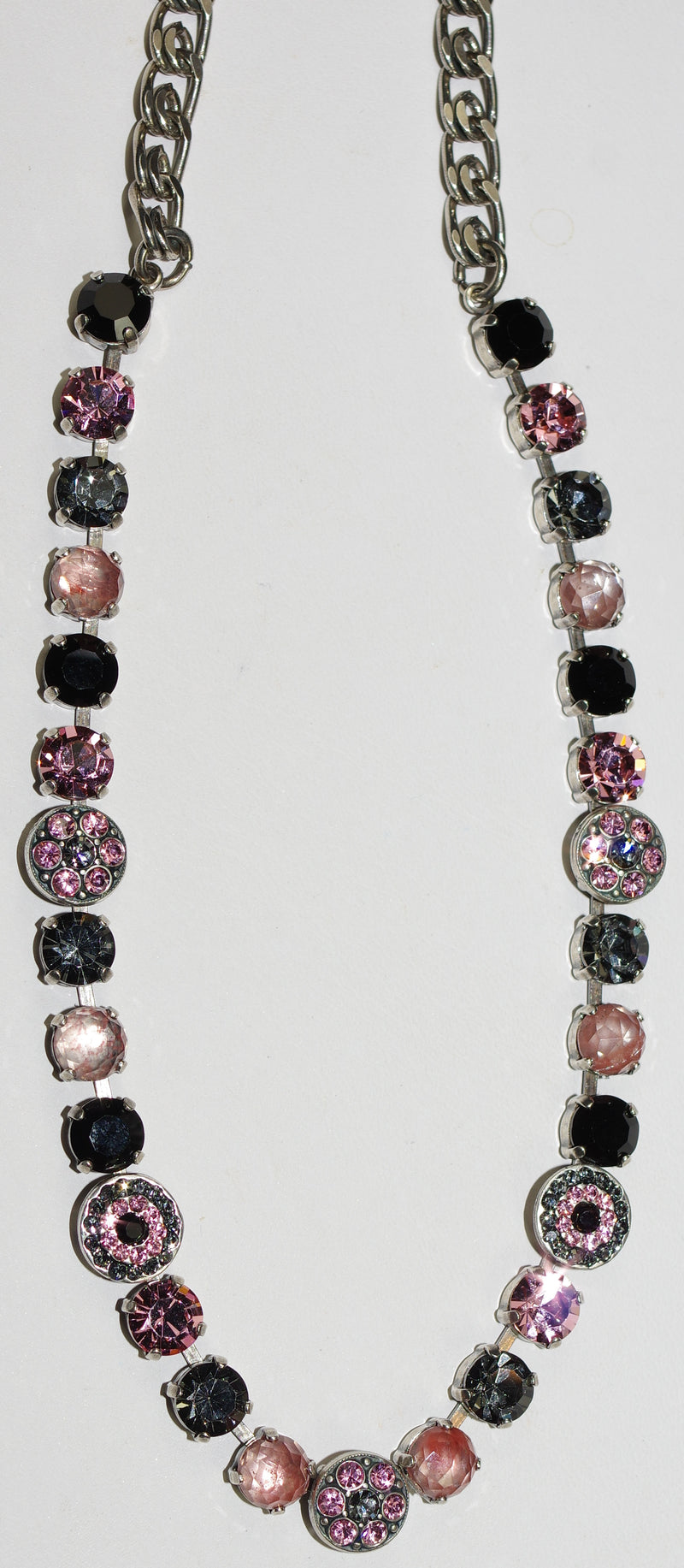 "MARIANA NECKLACE PEPPERMINT: black, pink, grey, mineral stones in silver setting, 17"" adjustable chain"