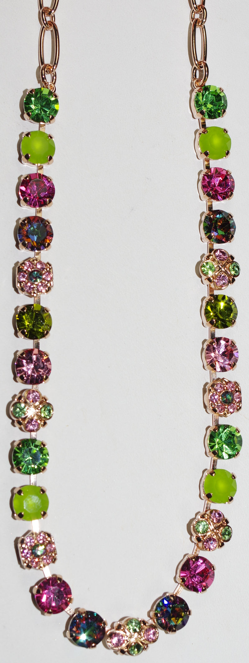 "MARIANA NECKLACE TUTTI FRUTTI: 1/4"" pink, green stones in rose gold setting, 18"" adjustable chain"