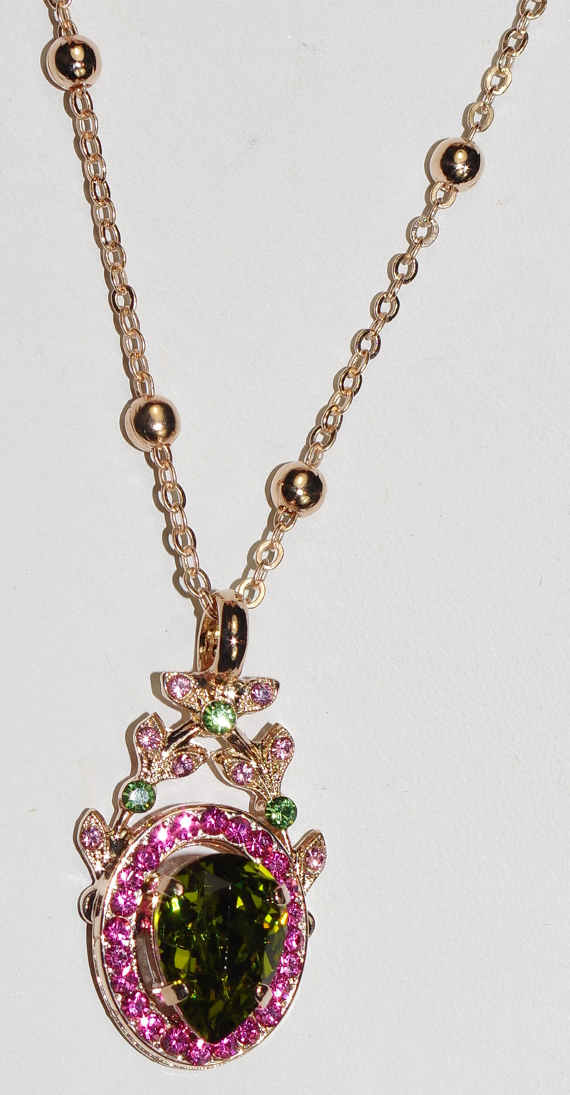 "MARIANA PENDANT TUTTI FRUTTI: green, pink stones in 1.5"" rose gold setting, 26"" adjustable chain"
