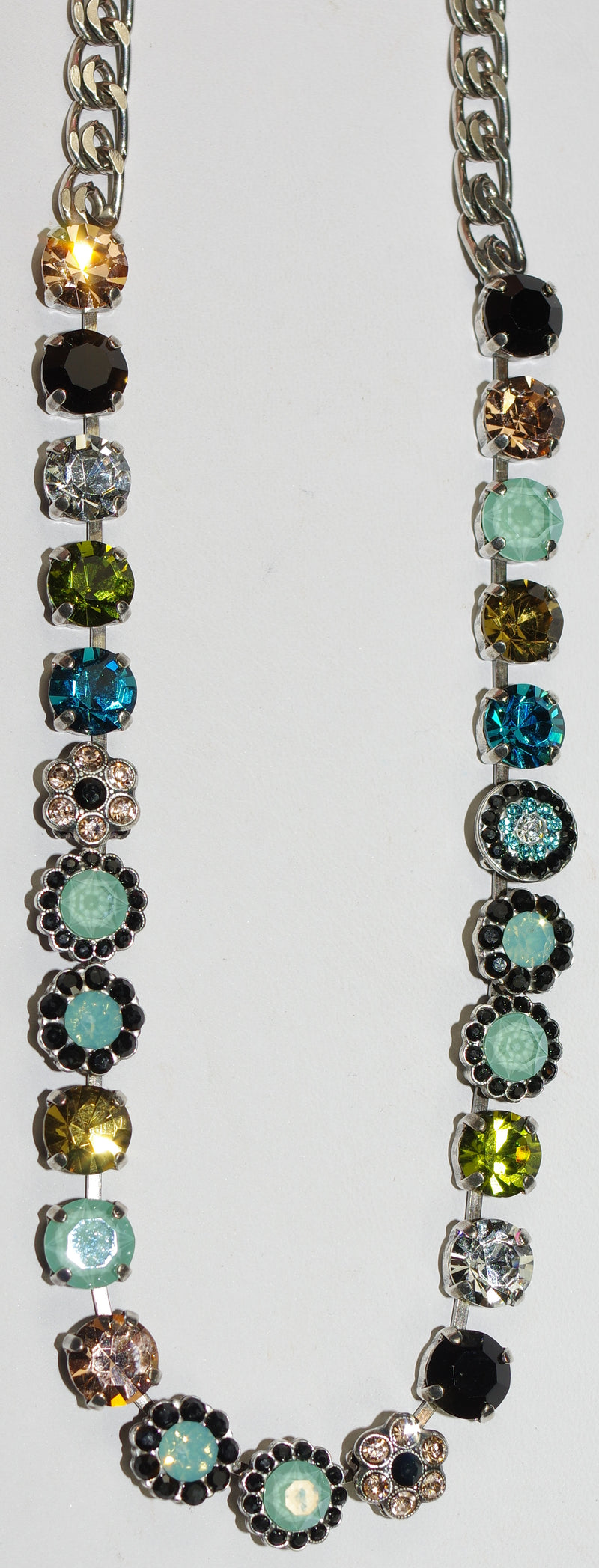 "MARIANA NECKLACE CANNOLLI LOREN: amber, black, blue, green stones, 20"" adjustable silver chain"