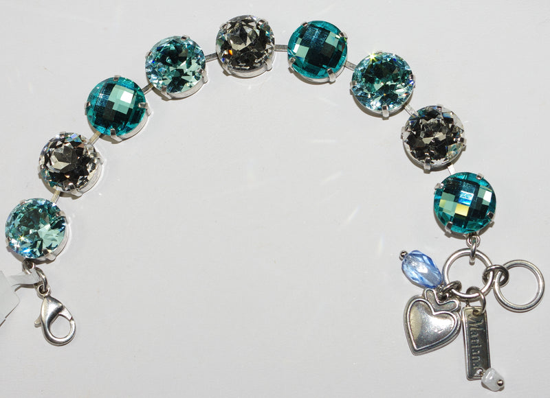 MARIANA BRACELET ITALIAN ICE: large 5/8 inch clear, blue stones in silver setting