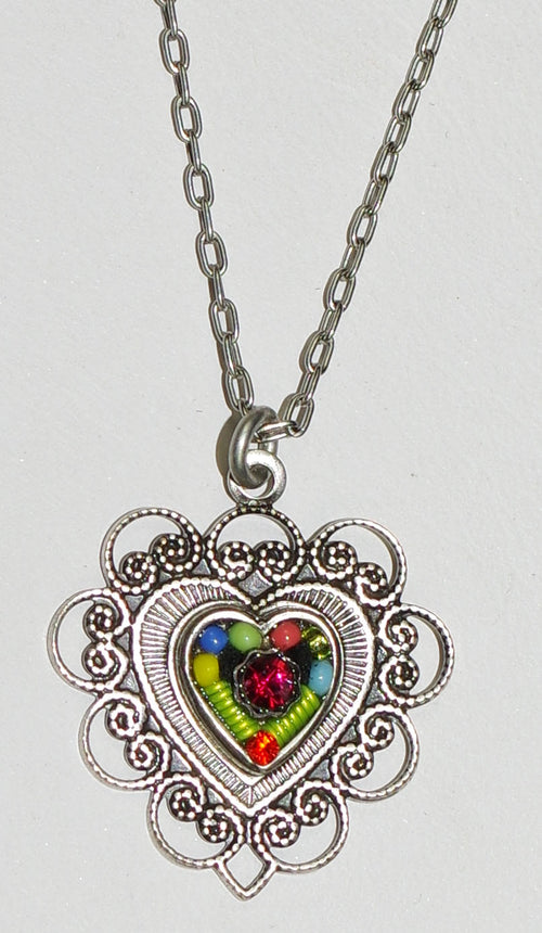 "FIREFLY NECKLACE HEART MC: multi color stones in 3/4"" pendant, silver 17"" adjustable chain"