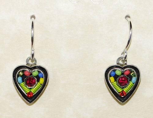"FIREFLY EARRINGS VINTAGE SMALL HEART MC: multi color stones in 1/2"" silver setting, wire backs"