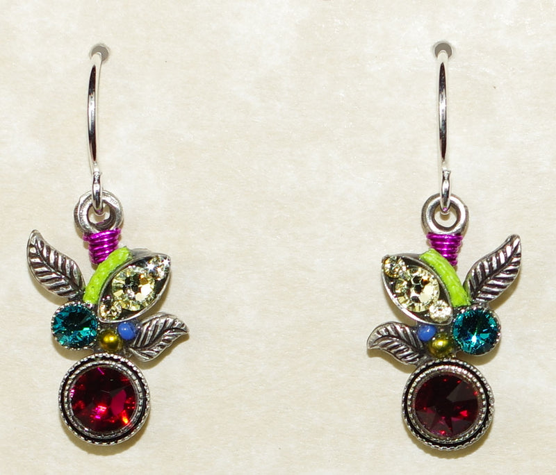 "FIREFLY EARRINGS BOTANICA RUBY: multi color stones in 3/4"" silver setting, wire backs"