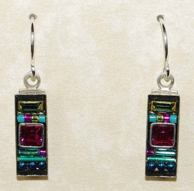 "FIREFLY EARRINGS LA DOLCE VITA RECTANGLE INDI: multi color stones in 5/8"" silver setting, wire backs"