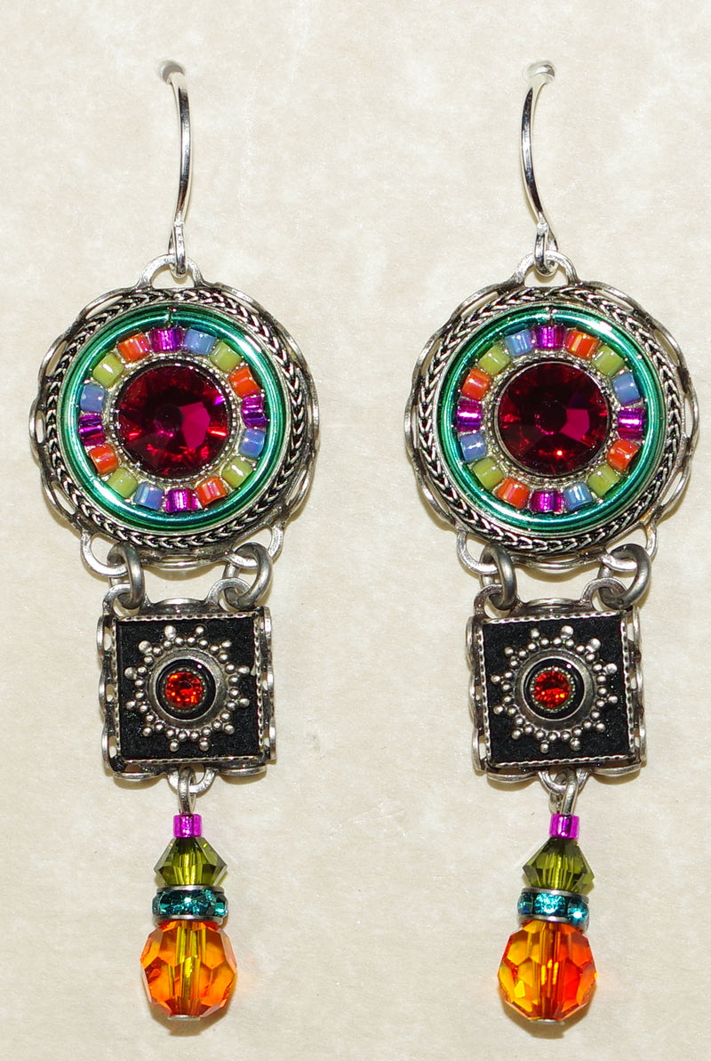 "FIREFLY EARRINGS LA DOLCE VITA TIERED MC: multi color stones in 1.75"" silver setting, wire backs"