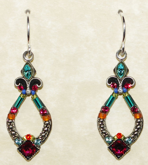 "FIREFLY EARRINGS ANGEL HARP MC: multi color stones in 1"" silver setting, wire backs"