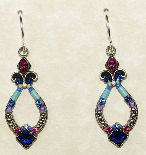 "FIREFLY EARRINGS ANGEL HARP BB: multi color stones in 1.25"" silver setting, wire backs"
