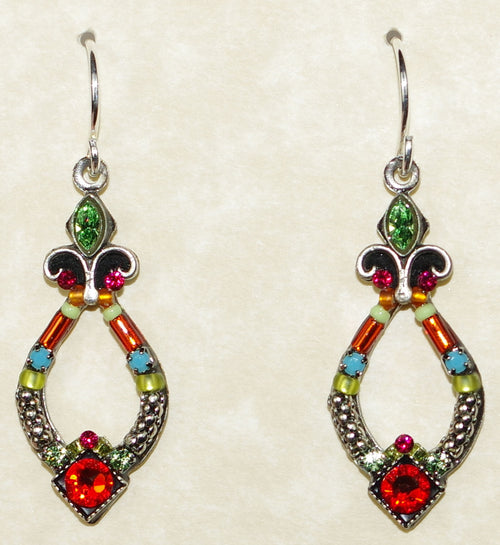 "FIREFLY EARRINGS ANGEL HARP TUTTI: multi color stones in 1"" silver setting, wire backs"
