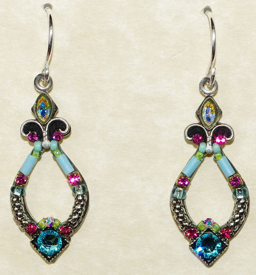 "FIREFLY EARRINGS ANGEL HARP LT: multi color stones in 1"" silver setting, wire backs"