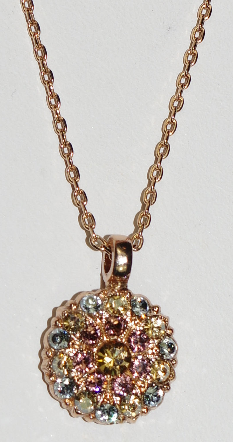 "MARIANA ANGEL PENDANT CREME BRULEE: blue, amber, bronze stones in rose gold setting, 18"" adjustable chain"