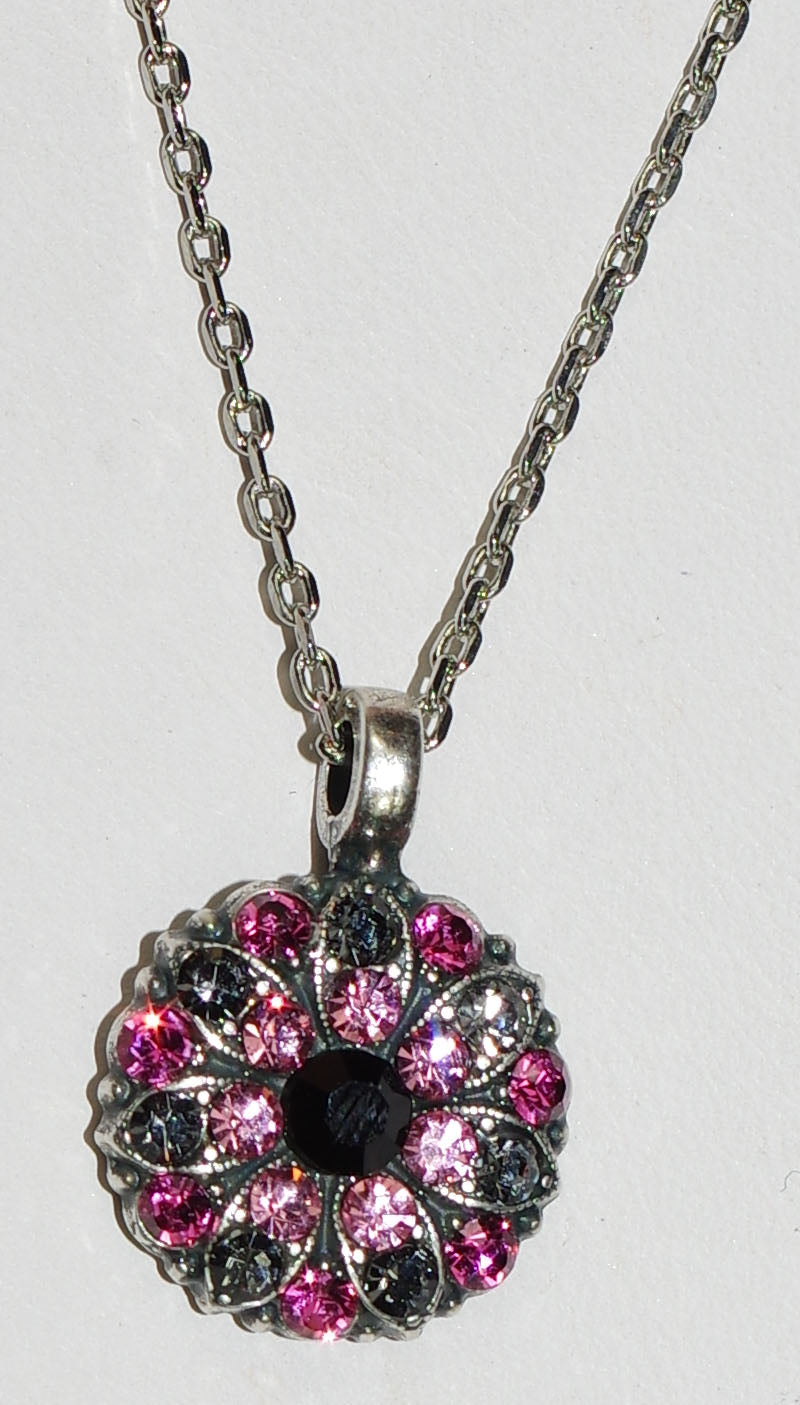 "MARIANA ANGEL PENDANT PEPPERMINT: pink, black, grey stones in silver setting, 18"" adjustable chain"
