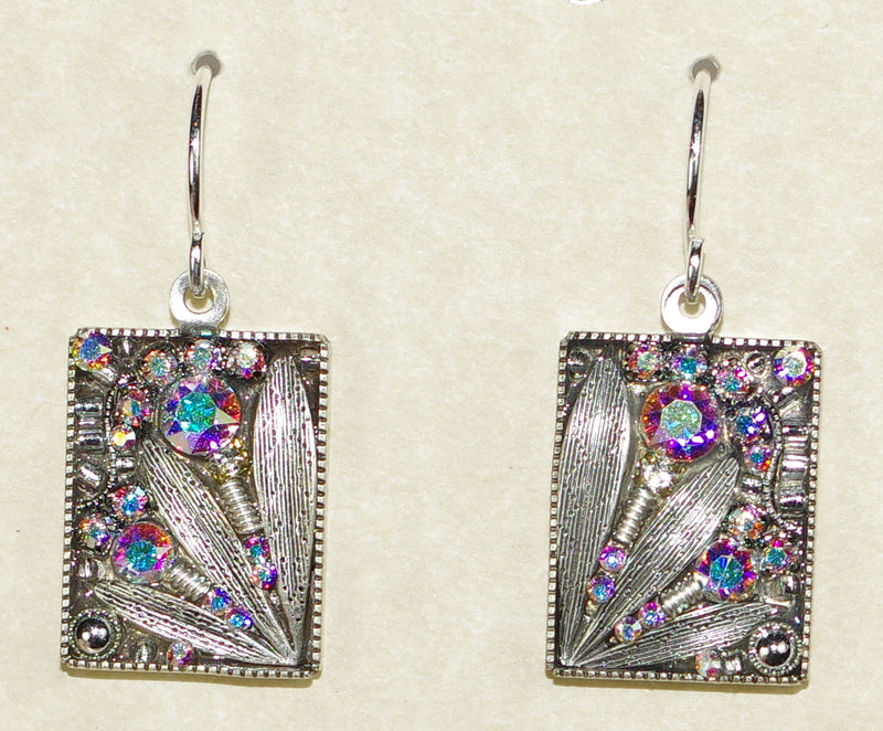 "FIREFLY EARRINGS LUX LEAF C A/B: clear, a/b stones in 3/4"" silver setting, wire backs"