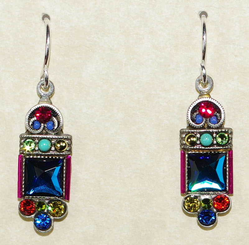 "FIREFLY EARRINGS MIRROR MC: multi-color stones in 3/4"" silver setting, wire backs"