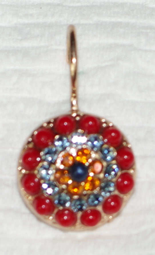 "MARIANA EARRINGS POPPY: red, blue, amber stones in 1/2"" rose gold setting, lever back"