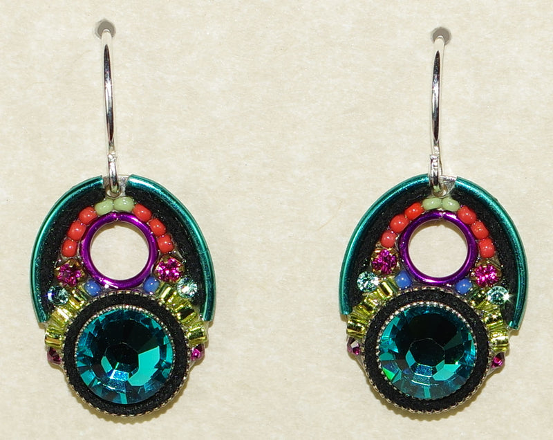 "FIREFLY EARRINGS LARGE CRYSTAL BLUE ZIRCON: multi color stones in 1.5"" silver setting, wire backs"