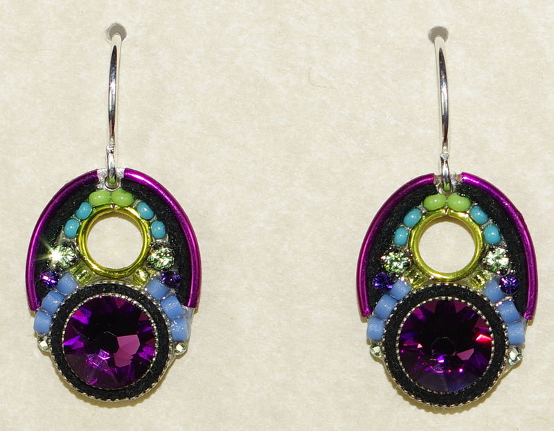 "FIREFLY EARRINGS LARGE CRYSTAL AMETHYST: multi color stones in 1.5"" silver setting, wire backs"
