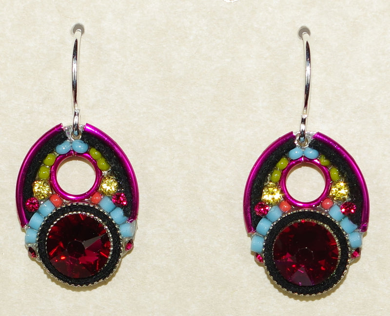 "FIREFLY EARRINGS LARGE CRYSTAL RUBY: multi color stones in 1.5"" silver setting, wire backs"