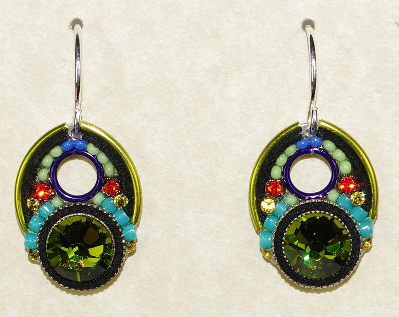 "FIREFLY EARRINGS LARGE CRYSTAL OLIVINE: multi color stones in 1.5"" silver setting, wire backs"