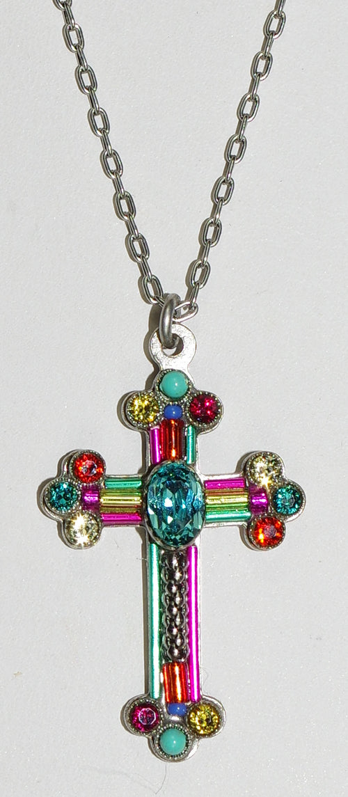 "FIREFLY CROSS NECKLACE FANCY MC: multi color stones in 1.25"" cross, silver 18"" adjustable chain"
