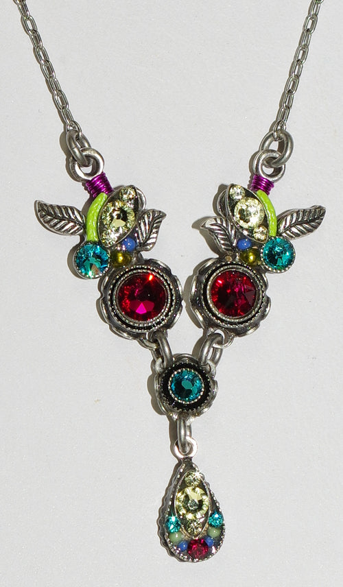 "FIREFLY NECKLACE BOTANICA RUBY: multi color stones in silver 18"" adjustable chain"