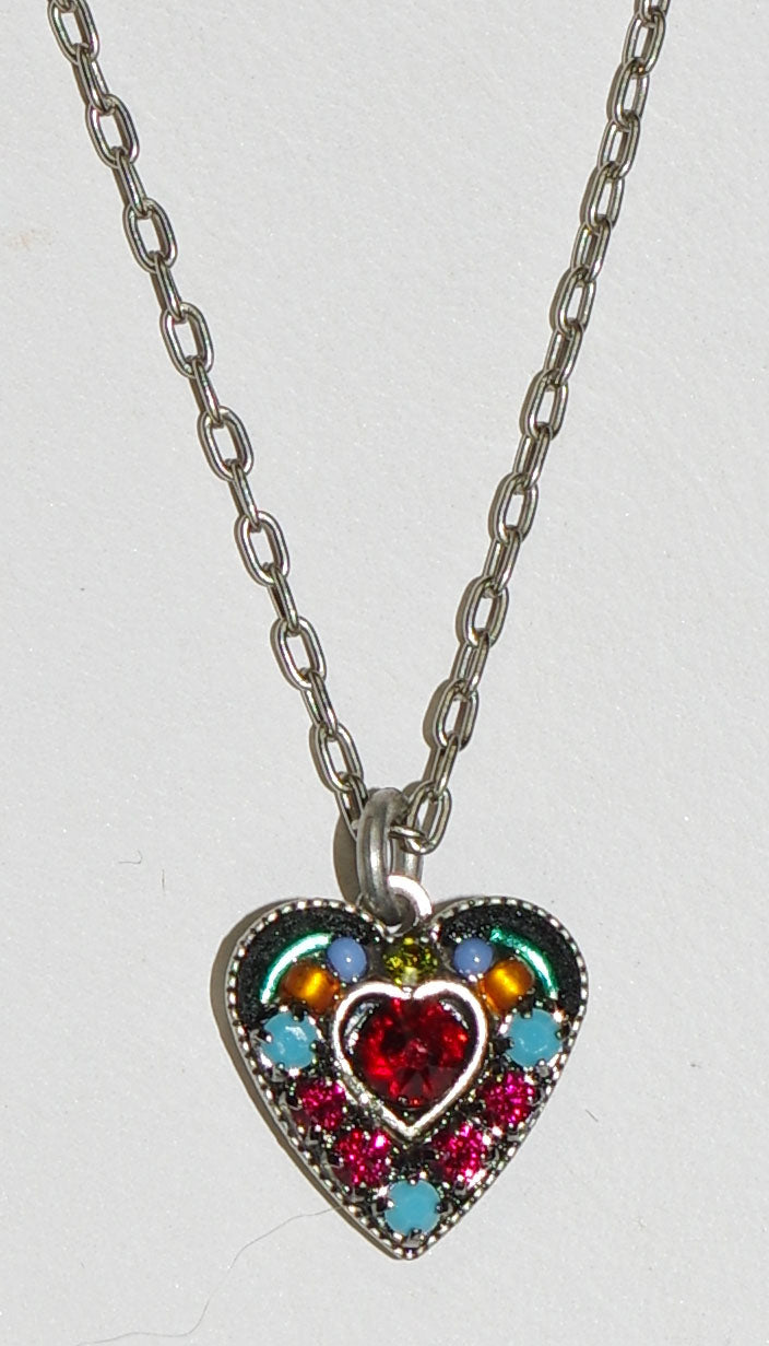 "FIREFLY NECKLACE SMALL CRYSTAL HEART RED:  multi color stones in 3/8"" pendant, silver 16"" adjustable chain"