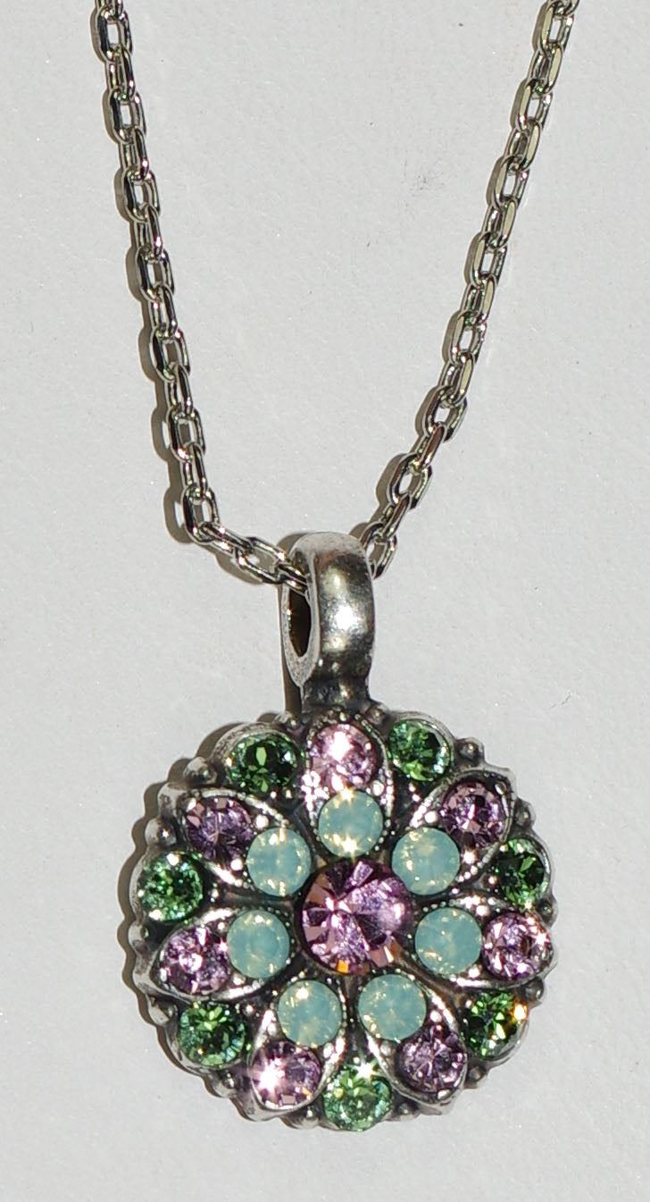 "MARIANA ANGEL PENDANT: green, purple stones in silver setting, 18"" adjustable chain"