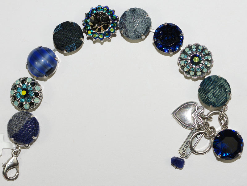 "MARIANA BRACELET: blue, green, a/b crystal and fabric 5/8"" stones in silver setting"