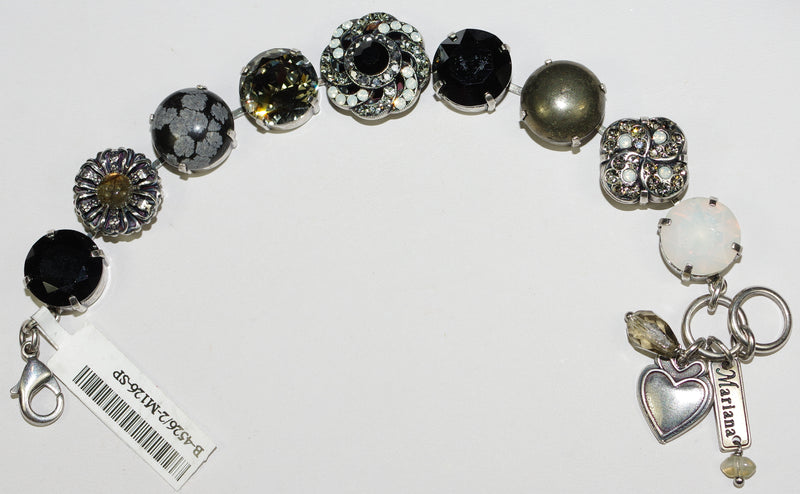 MARIANA BRACELET: black, white, a/b, grey stones in silver setting