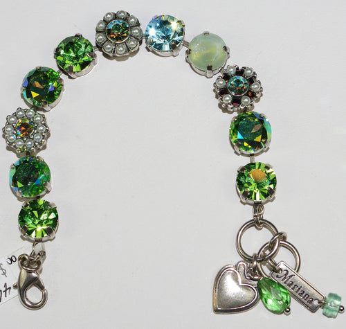 MARIANA  BRACELET CAYMAN ISLANDS: green, blue, pearl stones in silver setting