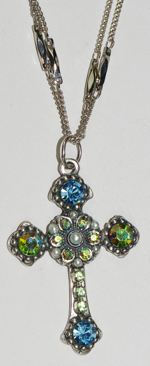 "MARIANA CROSS PENDANT CAYMAN ISLANDS: green, blue, pearl stones in silver setting, 20"" adjustable double chain"