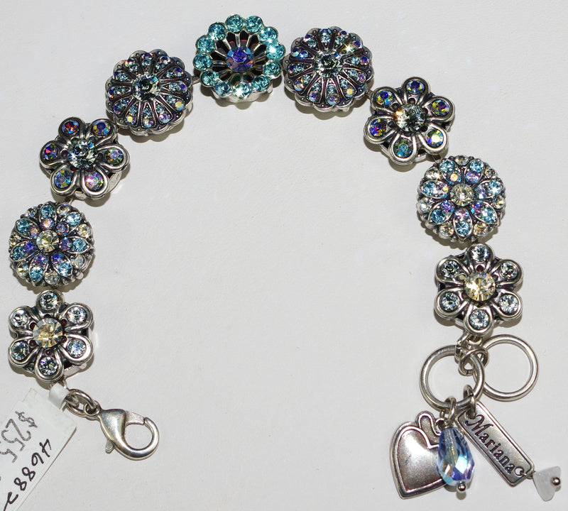 MARIANA BRACELET ITALIAN ICE: blue, clear, a/b stones in silver setting