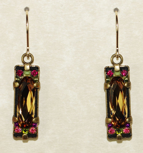 "FIREFLY EARRINGS CRYSTAL OBLONG TOPAZ : MULTI COLOR stones in 3/4"" GOLD setting, wire backs"