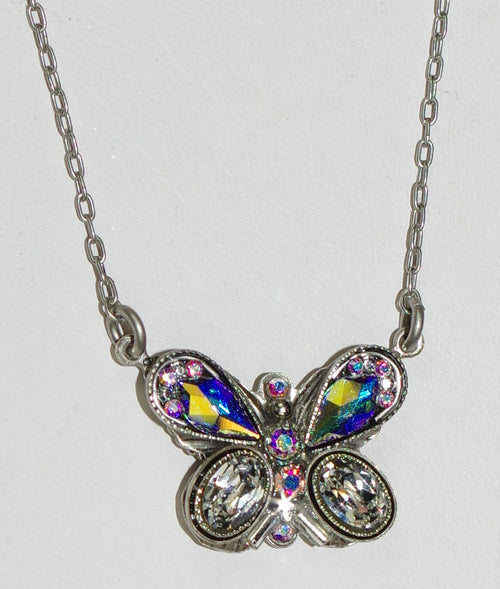 "FIREFLY NECKLACE BUTTERFLY FANCY C-A/B: clear, a/b stones in 3/4"" pendant, silver 16"" adjustable chain"