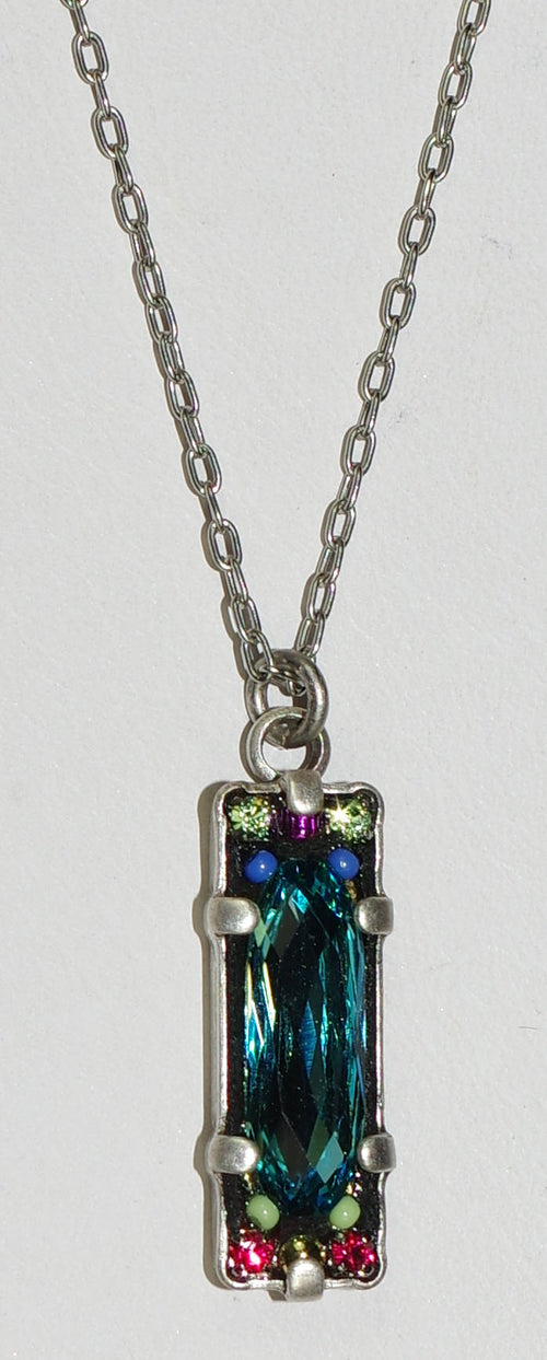 "FIREFLY NECKLACE BAGUETTE LIGHT TURQ: multi color stones in 3/4"" pendant, silver 17"" adjustable chain"