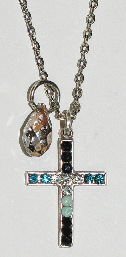"MARIANA CROSS PENDANT CANNOLI: pacific opal, black, teal stones in 1"" silver setting, 18"" adjustable chain"