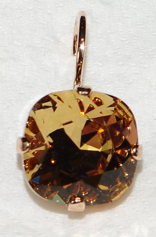 "MARIANA EARRINGS AMBER: amber stone in 1/2"" rose gold setting, lever back"