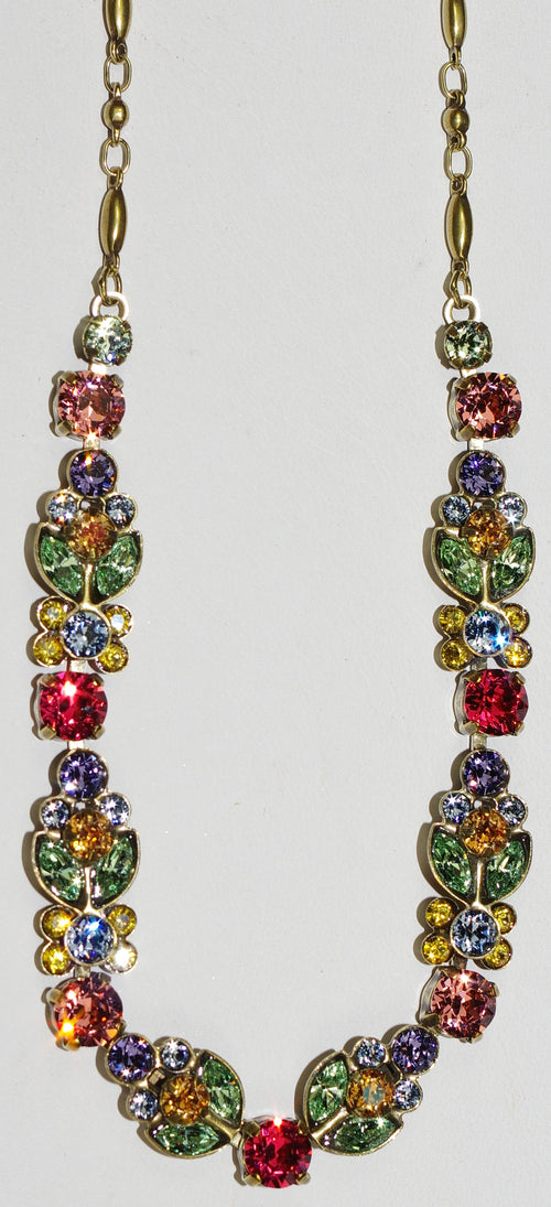 "SORRELLI NECKLACE BOHEMIAN BRIGHT: multi colored crystals, large roound stones = .25"", in antique gold setting, adjustable chain"