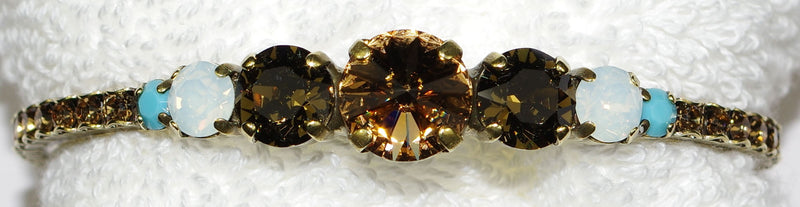 "SORRELLI BRACELET CUFF DRIFTWOOD: center amber crystal = 1/2"", in antique gold setting"