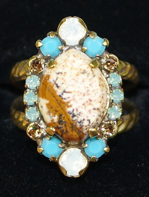 "SORRELLI RING DRIFTWOOD: center brown stone = 5/8"" on adjustable filigree detailed antique gold band"