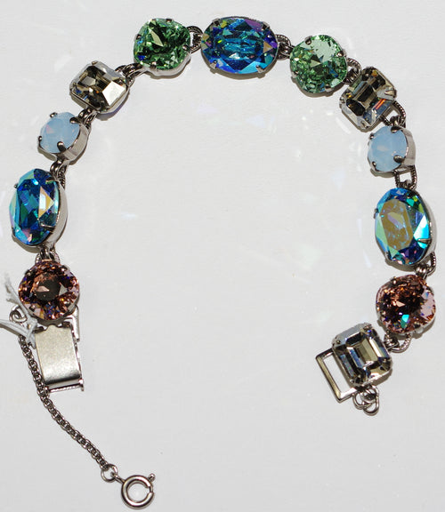 "SORRELLI BRACELET PASTEL PREP: blue, green, peach crystals, oval stone = 5/8"",  antique silver setting, safety chain"
