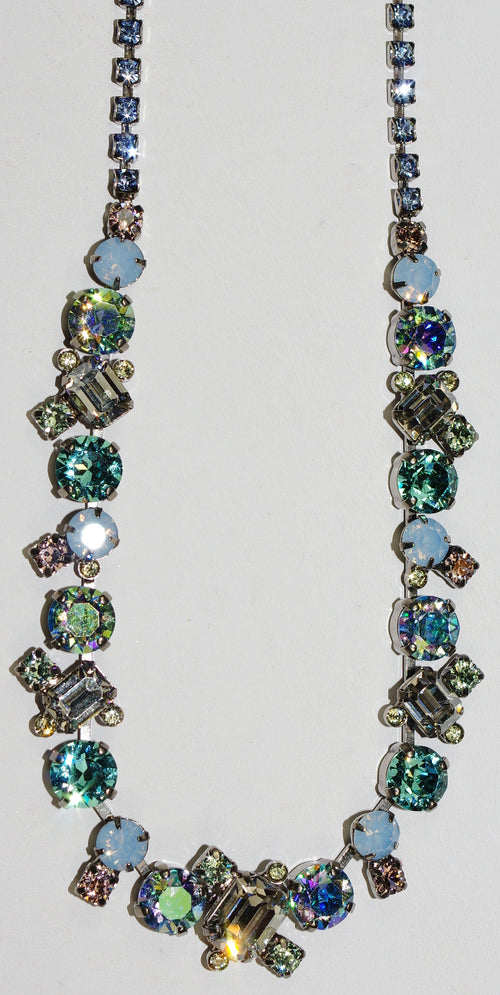 SORRELLI NECKLACE PASTEL PREP: blue, green, peach crystals, in antique silver setting, adjustable chain
