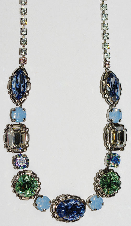 "SORRELLI NECKLACE PASTEL PREP: blue, green, crystals, oval stone = .50"", in antique silver setting, adjustable chain"