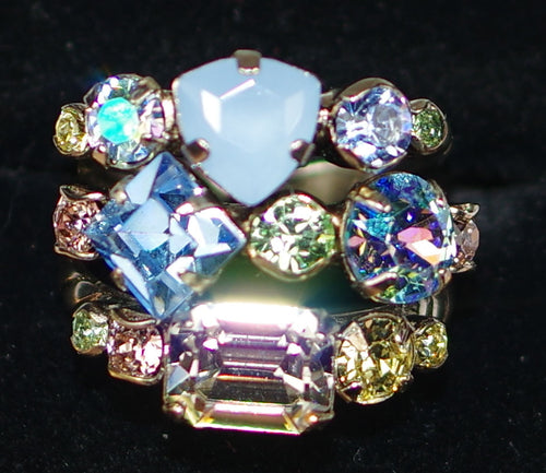 "SORRELLI RING PASTEL PREP: multi color crystals in 3/4"" wide adjustable filigree detailed antique silver band"